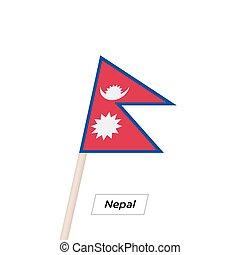 illustration., ネパール, 隔離された, 揺れている旗, ベクトル, white., リボン