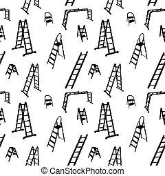 illustration., パターン, はしご, seamless, silhouette., ベクトル