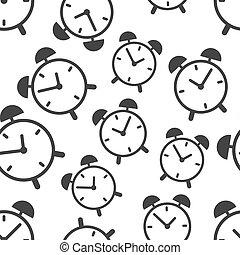 illustration., パターン, シンボル, ビジネス, ベクトル, 時計, 印, icon., 時間, 背景, 平ら, seamless, 警報, pattern.