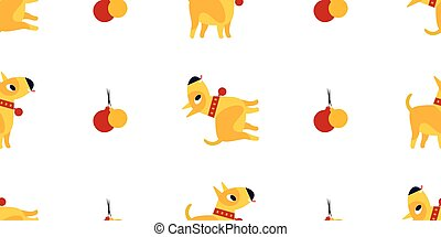 illustration., パターン, シンボル, seamless, 黄色, バックグラウンド。, ベクトル, 2018, 年, 新しい, 白, 犬