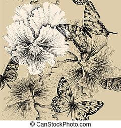 illustration., パターン, パンジー, seamless, ベクトル, butterflies.