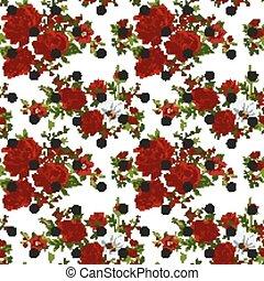 illustration., パターン, 抽象的, seamless, flowers., ベクトル, 赤