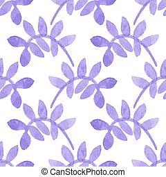 illustration., パターン, 葉, seamless, 水彩画, バックグラウンド。, hand-drawn, ベクトル, 花, 白, aquarelle., オリジナル, 背景