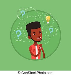 illustration., ビジネス考え, ベクトル, 持つこと, 人