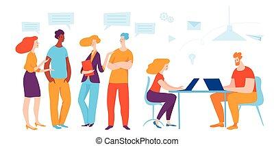 illustration., ビジネス, ベクトル, 人々, comunicate., 仕事, 概念