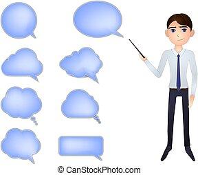 illustration., ビジネス, 手, コレクション, 隔離された, ベクトル, 背景, 白, ポインター, 泡, 話, 人