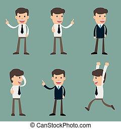 illustration., ビジネス, 特徴, 若い, イラスト, poses., ベクトル, 様々, ビジネスマン, ハンサム, 漫画, 人