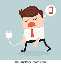 illustration., ビジネス, 疲れた, 概念, battery., ベクトル, 低い, ビジネスマン, 感じ