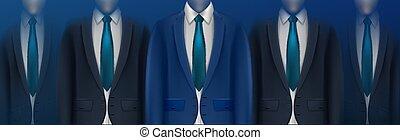 illustration., ビジネス, 背景, 人々。, グループ, ベクトル, 隔離された, 青