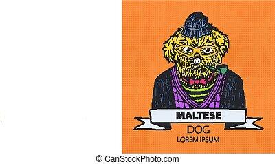 illustration., ヘッドホン, 犬, cravat., ベクトル, 緑, マルタ人, 肖像画