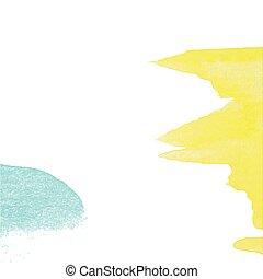 illustration., ベクトル, テンプレート, ペーパー, 水彩画, 手ざわり, 招待, ∥など∥., 黄色, 手, 背景, 引かれる, ペンキ, カード, 青