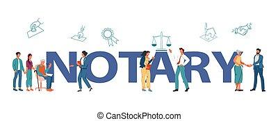 illustration., ベクトル, テンプレート, 旗, サービス, notary, 公衆, 平ら, 特徴