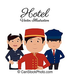 illustration., ベクトル, デザイン, ホテル