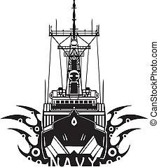 illustration., -, ベクトル, デザイン, 海軍, 軍