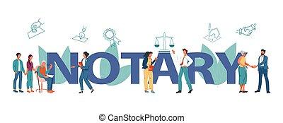 illustration., ベクトル, デザイン, notary, サービス, 公衆, 平ら, ヘッダー