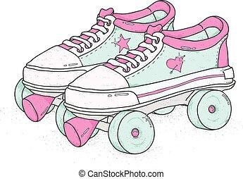 illustration., ベクトル, バックグラウンド。, スケート, ローラー, 白, カラフルである, レトロ, ブーツ, 穴にひもを通された, クォード