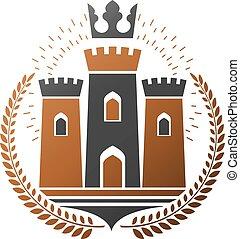 illustration., ベクトル, バックグラウンド。, logotype, 装飾用である, ロゴ, 腕, 隔離された, emblem., 古い, 白, heraldic, コート, スタイル, 古代, レトロ, 城