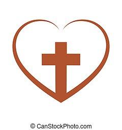 illustration., ベクトル, 交差点, 中, キリスト教徒, heart.