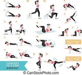 illustration., ベクトル, 好気性の試し, exercises., 女, フィットネス