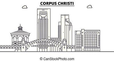 illustration., ベクトル, 州, , コーパスクリスティ, 合併した, スカイライン, 旅行, アウトライン