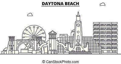 illustration., ベクトル, 州, , 合併した, スカイライン, 旅行, daytona, アウトライン...