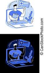 illustration., ベクトル, 抽象的な 概念, telehealth