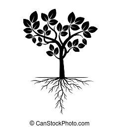 illustration., ベクトル, 木, 黒, roots.