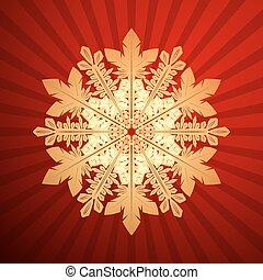 illustration., ベクトル, 背景, 雪片, クリスマス, 赤