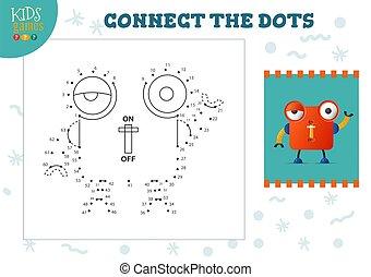 illustration., ベクトル, 連結しなさい, 点, ゲーム, 子供