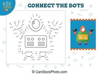 illustration., ベクトル, 連結しなさい, 点, ミニ, ゲーム, 子供