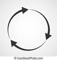 illustration., ベクトル, arrow., 黒, 円