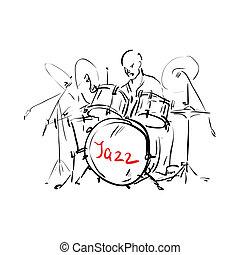 illustration., ベクトル, drummer.