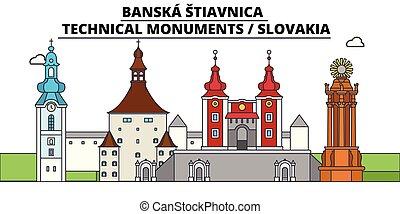 illustration., ベクトル, stiavnica, スカイライン, 旅行, banska, スロバキア
