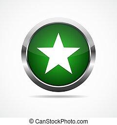 illustration., ボタン, star., ベクトル, 緑, グロッシー
