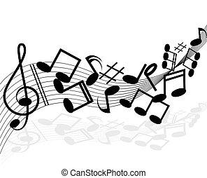 illustration., メモ, ベクトル, white., 背景, 音楽のスタッフ