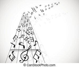 illustration., メモ, lines., ベクトル, 背景, 音楽のスタッフ
