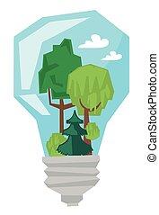 illustration., ライト, 中, 木, ベクトル, 電球