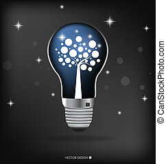 illustration., ライト, 木, 内側。, ベクトル, 電球