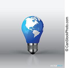 illustration., ライト, 現代, ベクトル, 電球, globe.