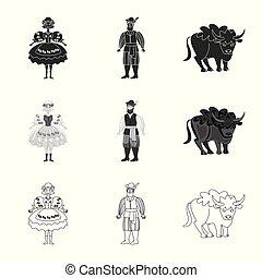 illustration., ランドマーク, シンボル。, イラスト, 伝統的である, 旅行, ベクトル, コレクション, 株