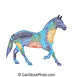 illustration-, 中国語, 黄道帯の馬