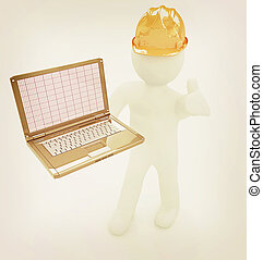 illustration., 人々, 型, ラップトップ, -, 小さい, エンジニア, style., 3d