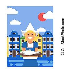 illustration., 保有物, 背景, スタイル, ポスター, ベクトル, 皿, 衣装, 平ら, 女の子の微笑, にしん, 伝統的である, 家, オランダ語, アムステルダム, 古い, netherlands, 単純である