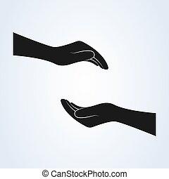 illustration., 保護, 支持, ベクトル, 手, アイコン
