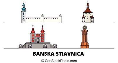 illustration., 光景, ベクトル, 有名, スロバキア, design., stiavnica, 線, ランドマーク, banska, 平ら, 旅行, 都市 スカイライン