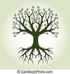 illustration., 公園, nature., 木, ベクトル, 黒, roots.