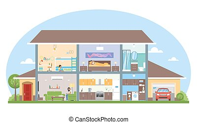 illustration., 内部, ベクトル, 家, 部屋, 家, スタイル, 家具, 平ら, 詳しい, 現代