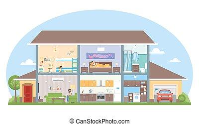 illustration., 内部, 矢量, 家, 房间, 房子, 风格, 家具, 套间, 详尽, 现代