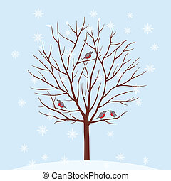 illustration., 冬, ベクトル, 木。