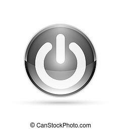 illustration., 力, button., ベクトル, グロッシー, 3d